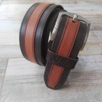 Ремень комбинированный коричневый и кирпич 45 мм