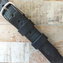 Ремень черный с черной строчкой с тиснением квадрат и Древо жизни 40 мм