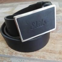 Ремень черный с квадратной металлической пряжкой Shilo 40 мм