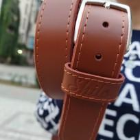 Ремень коричневый с покрытием с декоративной строчкой 35 мм