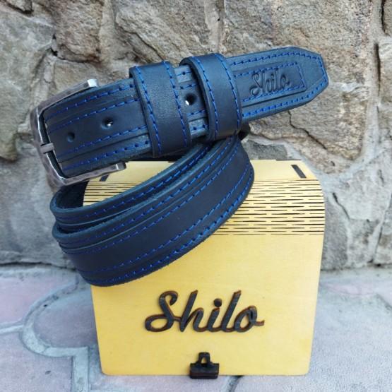 Ремень черный с синей строчкой и полосой 40 мм