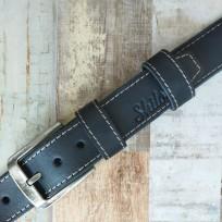 Ремень черный с бежевой строчкой 40 мм