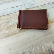 Зажим для денег две карты цвет коричневый с декоративными уголками