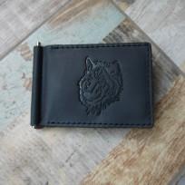 Зажим для денег две карты черный с тиснением Волк