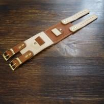 Ремешок комбинированный двойная застежка цвет светло-коричневый с бежевым