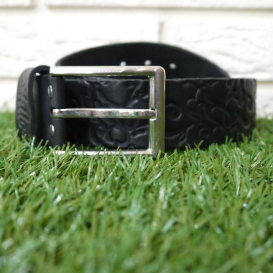 Ремень черный без строчки с тиснением узоры 40 мм