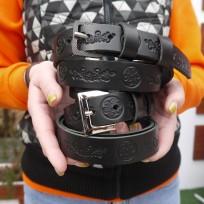 Ремень черный с тиснением Узоры 25 мм