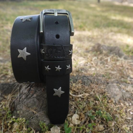Ремень черный без строчки со звездами 40 мм