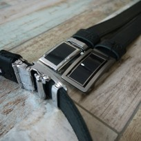 Ремень черный с черной строчкой 35 мм с пряжкой автомат