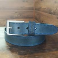 Ремень черный с синей строчкой 40 мм