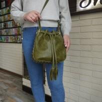 Сумка-торба на затяжках с хольнитенами цвет оливка