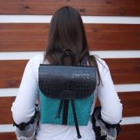 Рюкзак комбинированный черно-бирюзовый на затяжках